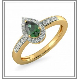 Emerald And Diamond Gemstone Ring In 18Kt Gold