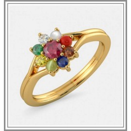 Navaratna Ruby And Diamond Gemstone Ring In 18Kt Gold